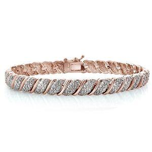18K Rose Gold Plated Brass 1ct TDW Diamond Fancy Design Tennis Bracelet