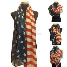 Vintage USA American Flag White Red Blue Stars Strip Circle Eternal Scarf Wraps