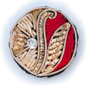 """1"""" Sewing Buttons Hand Embroidered With Gold Bullion Red Cream for Jackets 6 PC"""