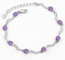 925 Sterling Silver Women Fashionable Purple Amethyst Studded Women Bracelet
