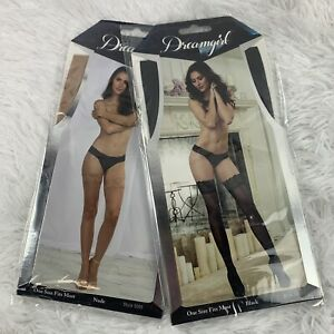 2 New Dreamgirl 0005 Nude & Black Thigh High Stockings With Stay Up Silicone Top