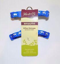 "Blue Silver Fish Whisker City Reflective Ferret Kitten Harness 6""-12"" inch Girth"