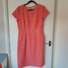 Boden Coral Pink Jacquard Dress Lined With Pockets Size 14/16
