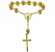 1 Decade pocket Catholic gold filigree metal rosary beads gold cross and chain