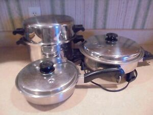 """Saladmaster 3 pan set-electric skillet, 8"""" skillet and 7 qt roaster pan all with"""