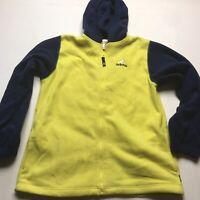 Vintage Adidas Yellow Blue Full Zip Fleece Hoodie Size XL
