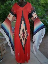 Saltillo Serape Southwestern Festival  Kaftan Fairy Sleeve Fringe Maxi Dress~XL
