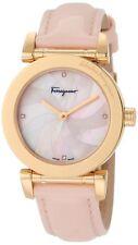 Ferragamo Women's F50SBQ5027 S111 Gold IP Coated DIAMOND Pink Leather Watch