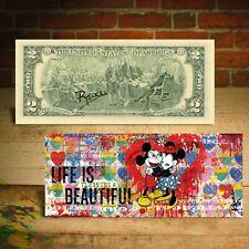 Mickey & Minnie Mouse Life is Beautiful $2 Bill Banksy Art Hand-Signed by Rency