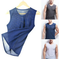 Men's Summer Casual Muscle Pullover Sleeveless Tank Vest Mesh Shirt Top Blouse