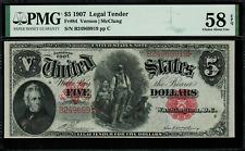 "1907 $5 Legal Tender FR-84 - ""WoodChopper"" - PMG 58 EPQ - Vernon / McClung"