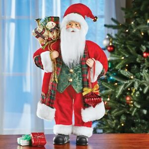 Classic Winter Holiday Santa Claus Christmas Tabletop Centerpiece Statue