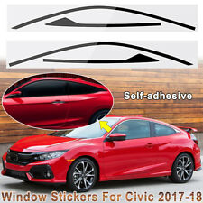Car Sticker Window Trim Decal For Honda Civic 2-door 2017 2018 Blackout Overlay