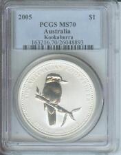 2005 $1 AUSTRALIA KOOKABURRA 1 Oz. SILVER BULLION COIN PCGS MS70