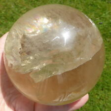 TIBET REAL UNHEATED YELLOW CITRINE QUARTZ CRYSTAL BALL SPHERE GANESH 1470 g