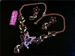 Hot Betsey Johnson Pendants Rhinestone Butterfly Earrings Sets chain necklaces
