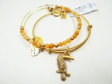 ALEX and ANI Russian Gold Team Toucan Set of Two Bracelets with Charms