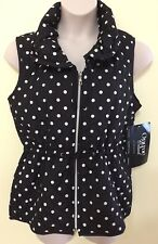 Onque Jacket L Black White Vest Sleeveless Polka Dots Spotty Zip Up Quilted