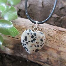 DALMATIAN JASPER Crystal Gemstone Heart DEPRESSION ~ NIGHTMARES Pendant Necklace