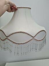 Vintage Large Lined Lampshade Light Shade Cream Fringe Bead Tassels *FLAW*