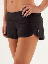 "Lululemon Run: Sz 4 Black Speed Up Shorts 2.5"" Inseam Gym Train Free Ship EUC"