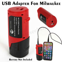 USB Charger Adapter Mobile Phone Power for Milwaukee 49-24-2310 48-59-1201 M12 B