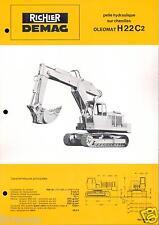 ▬►Prospectus de 1970 RICHIER  PELLE HYDRAULIQUE CHENILLES OLEOMAT H 22 C2