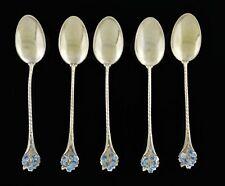 "Set Of 5 Gorham Sterling Silver Forget Me Not Enamel 808 Demitasse Spoons 3 3/4"""