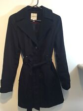 Croft And Barrow Black Trench Coat Jacket Tie Rain Chic Button sz S