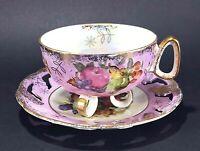 LM Royal Halsey Pink Iridescent Gold Trim Fruit Motif Footed Tea Cup and Saucer