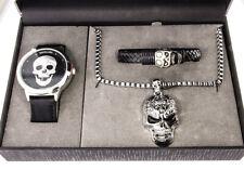 Schmuckset für Herren Gothic Punk Armbanduhr Armband Kette Anhänger Totenkopf