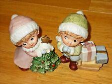 "New ListingHomco 5556 Christmas Girl With Tree & Boy With Sled Figurines 4"" Tall"