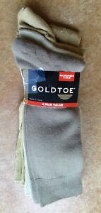 New Gold Toe Mens 4 Pair Pack Microfiber Crew Dress Socks. 10-13