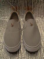 Polo Ralph Lauren Thompson Grey Canvas Slip On RL Sneaker Boat Shoe Men 9.5