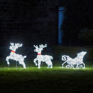 LED Rentier Hirsch Schlitten Weiß Weihnachts Deko Außen Strom Timer Lights4fun