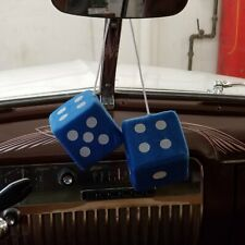 Blue Custom Fuzzy Hanging Rearview Mirror Dice w/ White Dots v8 pickup trans am