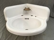 Antique Cast Iron White Porcelain Corner Bath SInk Old Brass Soap DIsh 332-17E