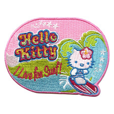 "Hello Kitty ""I Live For Surf"" Iron On Embroidered Patch"