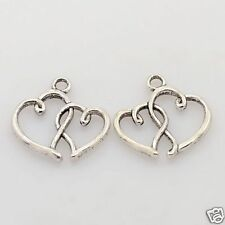 10 x Tibetan Silver Double Heart Pendant Charms Hollow