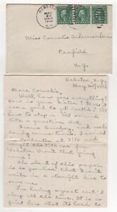 1918 USA Cover WEBSTER NY to PENFIELD + Letter Content SCHERMERHORN