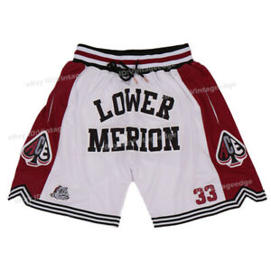 Lower Merion ACE Shorts Bryant #33 Stitched Running Workout Shorts White/Gray