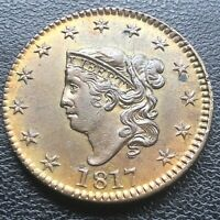 1817 Large Cent Coronet Head One Cent 1c High Grade BU - UNC RARE #18469