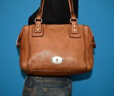 FOSSIL Brown Leather 'MARLOW' Domed Shopper Turn-Lock Tote Purse Shoulder Bag