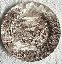"""VINTAGE ENGLAND THE MILL ALFRED MEAKIN STAFFORDSHIRE LARGE 10"""" BROWN PLATE"""