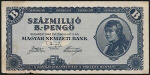 banknote km:m6b 20 peng\u00f6 65-70 hungary 1944 unc