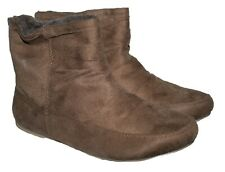LADIES CHESTNUT BROWN ANKLE BOOT, FAUX FUR LINING & SOCK WITH BACK ZIP SIZE 6