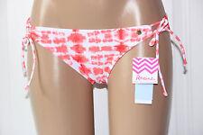 NEW Raisins Coral White Sweet Pea Tie Side Hipster Bikini Bottom Junior L Large