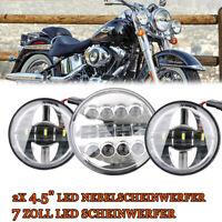 "7 Zoll LED Scheinwerfer +2x 4.5"" LED Nebelscheinwerfer Chrome für Harley"