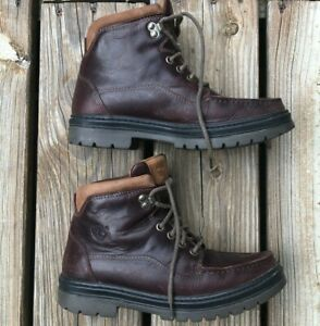 Womens VTG Timberland Boots Leather Moc Toe Hiking Gore Tex Waterproof Size 8.5