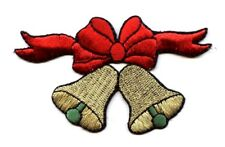 Gold Bells - Red Bow - Holiday/Christmas - Iron on Applique/Embroidered Patch